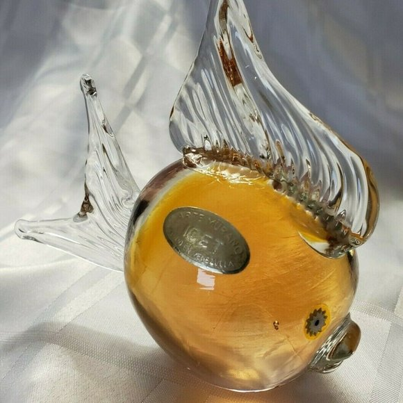 MURANO GLASS ART ICET VINTAGE FISH AMBER COLORED